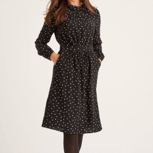 BODEN Lucinda Dress Black Polka Spotty Print